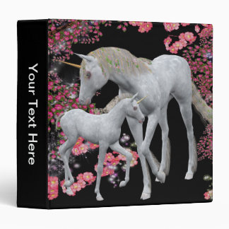 Unicorn Horse Mare And Foal Animal 3 Ring Binder