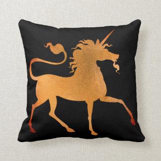 Unicorn Horse Princess Black Coral Gold Minimal Throw Pillow