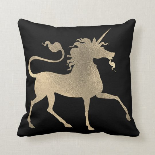 Unicorn Horse Princess Black Foxier Gold Minimal Throw Pillow