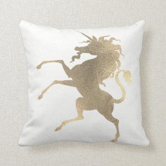 Unicorn Horse Princess White Fairly Gold Minimal Throw Pillow