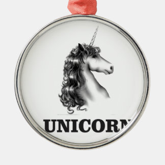 unicorn horse Silver-Colored round ornament