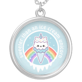 Unicorn Ice Cream Cone Silver Plated Necklace