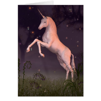 Unicorn in a Moonlit Forest Glade Greeting Card
