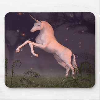 Unicorn in a Moonlit Forest Glade Mouse Pad
