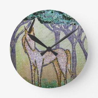 Unicorn in Grove of Trees Round Clock