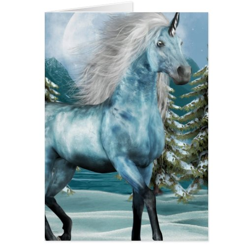Unicorn in Moonlight Greeting Cards