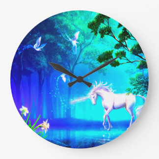 Unicorn In Paradise Large Clock