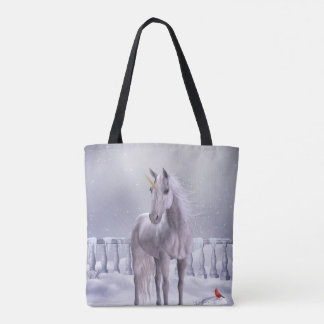 Unicorn in the Snow All-Over-Print Tote Bag