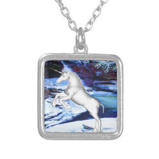 Unicorn in the Snow Silver Plated Necklace