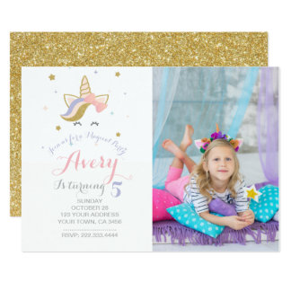 Unicorn Invitation with picture
