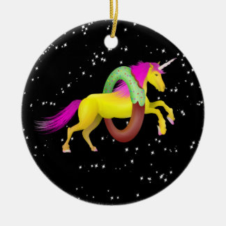 Unicorn Jumping Through a Doughnut Ceramic Ornament