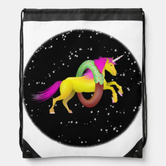 Unicorn Jumping Through a Doughnut Drawstring Bag
