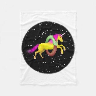 Unicorn Jumping Through a Doughnut Fleece Blanket