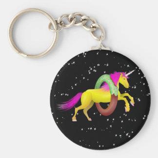 Unicorn Jumping Through a Doughnut Keychain