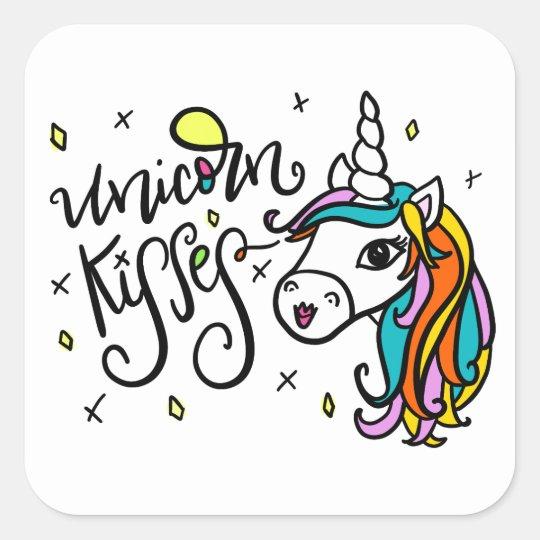 Unicorn Kisses, hand-drawn Square Sticker