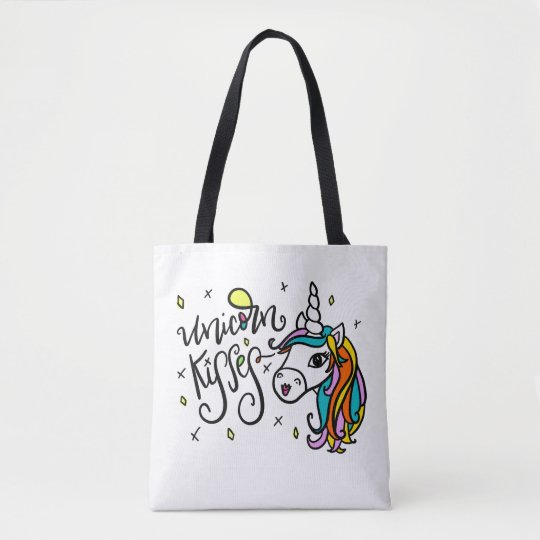 Unicorn Kisses, hand-drawn Tote Bag
