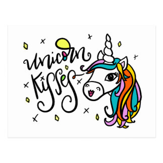 Unicorn Kisses, hand lettered Postcard