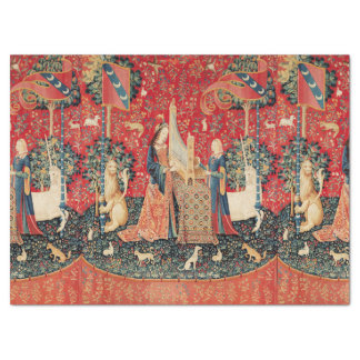 UNICORN,LADY PLAYING ORGAN Red Floral Tissue Paper
