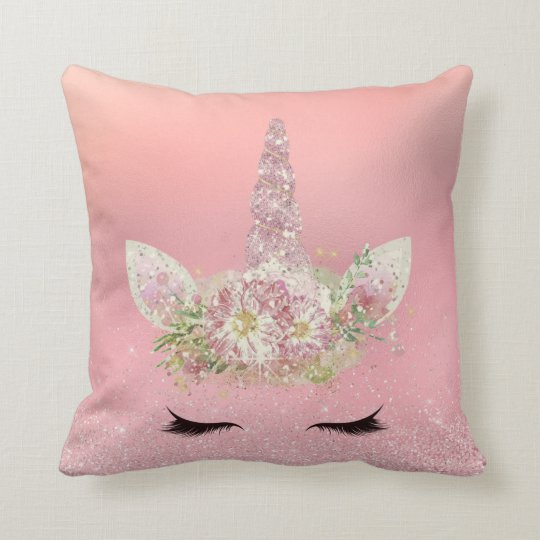 Unicorn Lashes Pink Rose Gold Glitter Flowers Throw Pillow