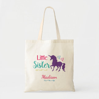 Unicorn Little Sister Colorful Sibling Baby Sister Tote Bag
