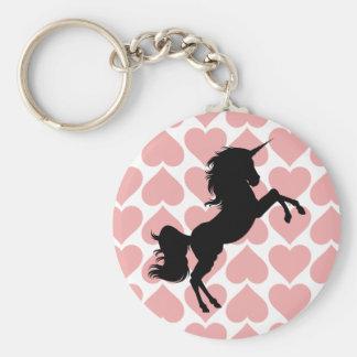 Unicorn love pink hearted key chain