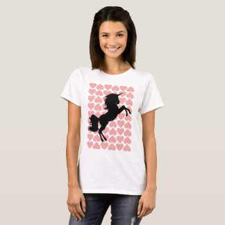 Unicorn love pink hearted t-shirt