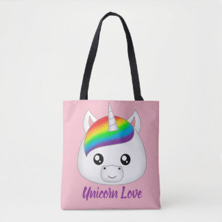 Unicorn Love Rainbow Cute Kawaii Unicorn Face Head Tote Bag