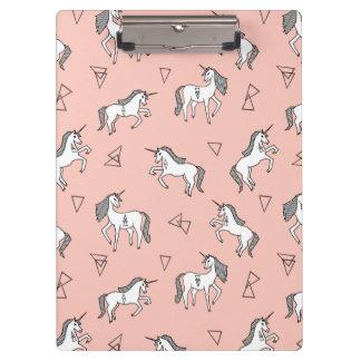 Unicorn Love - White On Pale Pink / Andrea Lauren Clipboard