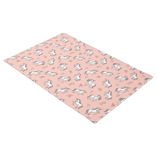 Unicorn Love - White On Pale Pink / Andrea Lauren Doormat