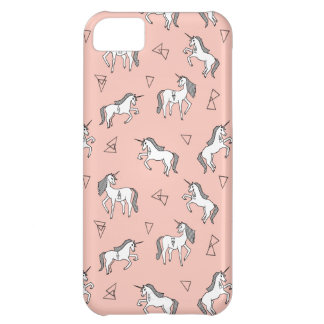 Unicorn Love - White On Pale Pink / Andrea Lauren iPhone 5C Cover