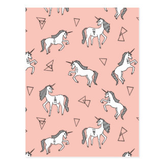 Unicorn Love - White On Pale Pink / Andrea Lauren Postcard