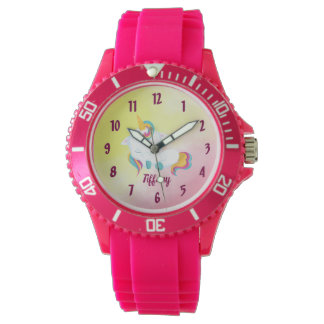 Unicorn Lover Pink and Yellow Background Watch