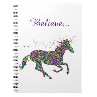 Unicorn Magic Believe Colorful Journal Spiral Notebooks