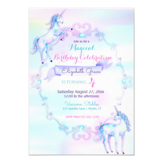 Unicorn Magical Fantasy Rainbow Aqua Pink Lavender Card