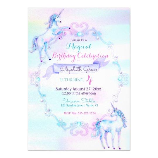 Unicorn Magical Fantasy Rainbow Aqua Pink Lavender Card