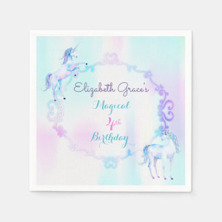 Unicorn Magical Rainbow Lavender Pink Turquoise Paper Napkins