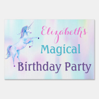 Unicorn Magical Rainbow Lavender Pink Turquoise Sign