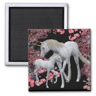 Unicorn Mare And Foal Fantasy Square Magnet