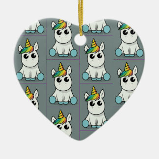 Unicorn Merry Christmas Ceramic Ornament