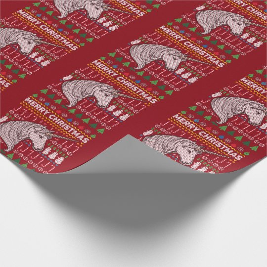 Unicorn Merry Christmas Ugly Sweater Style Wrapping Paper