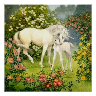 Unicorn Mom and Baby Among Blossoms in the Spring Poster