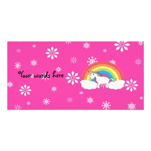 Unicorn on clouds pink snowflakes photo greeting card