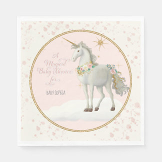 Unicorn on Clouds w Stars Magical Baby Girl Shower Paper Napkin