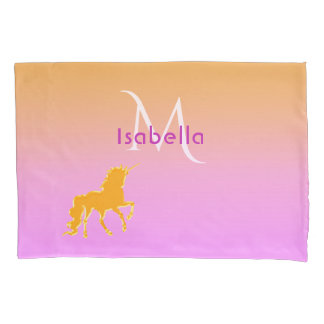 Unicorn on pink and golden monogram and name pillowcase