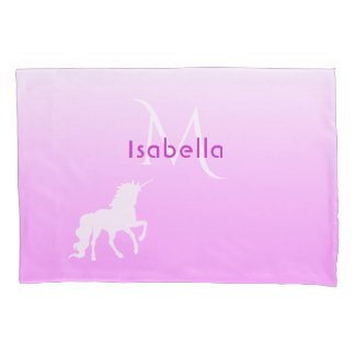 Unicorn on pink and white monogram and name pillowcase