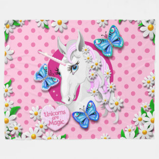 Unicorn on polka dots in pink with heart fleece blanket
