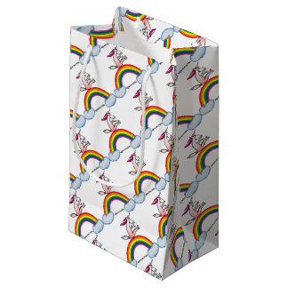 Unicorn on rainbow - Crazy unicorn on rainbow Small Gift Bag