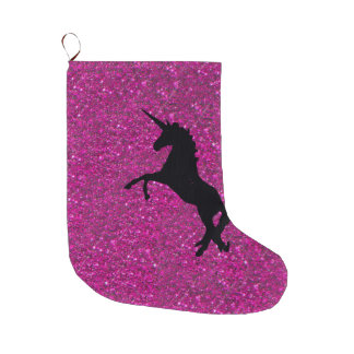 Unicorn on sparkling glitter print large christmas stocking
