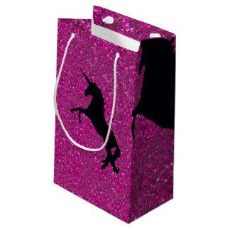 Unicorn on sparkling glitter print small gift bag