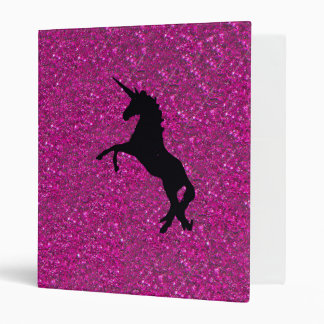 Unicorn on sparkling glitter print vinyl binder